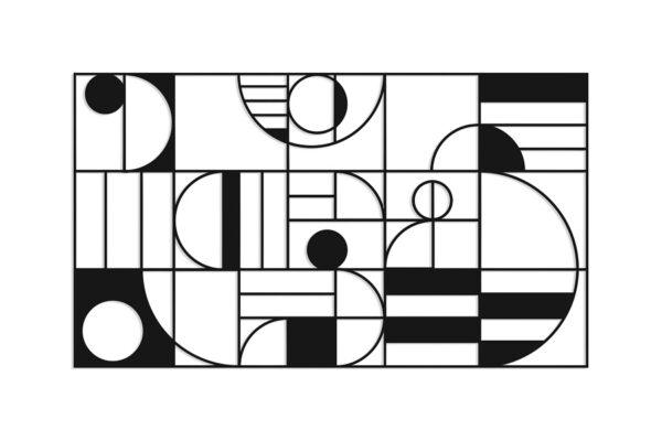 תמונה ממתכת שחורה עם עיצובים גיאומטרים